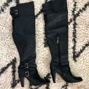 Guess Sawyer Black Over The Knee Boots